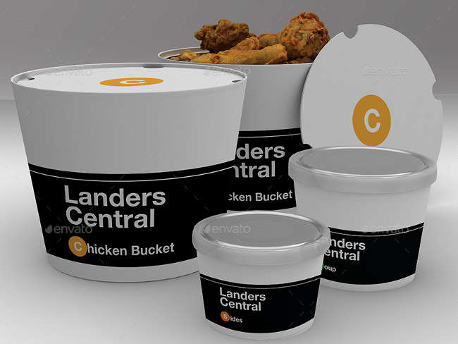 Customizable 5 Chicken Bucket PSD Mock Ups