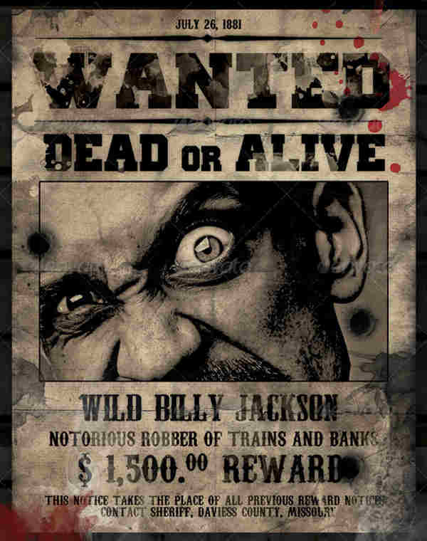 Dead or Alive Wanted Poster