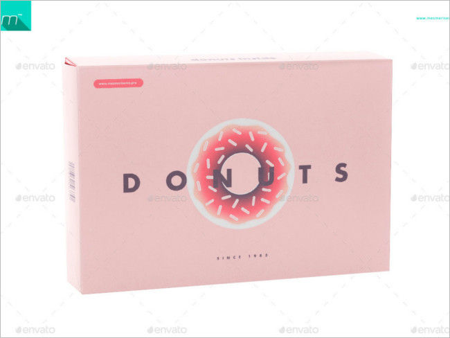 Donuts Food Box PSD Mock-up Free