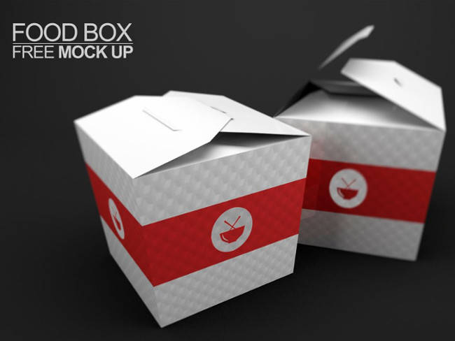 Chinese Food Box Free PSD Mockups Downloadable