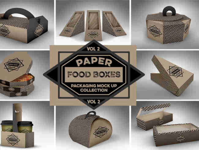 Paper Food Box Packaging MockUps