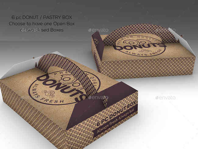 Food Pastry Box Fully Layered Mock Ups