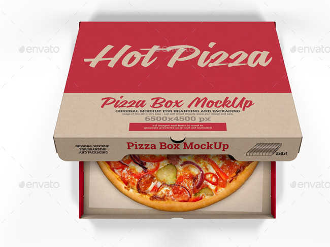 Pizza Box PSD Mockup for Branding and Packaging