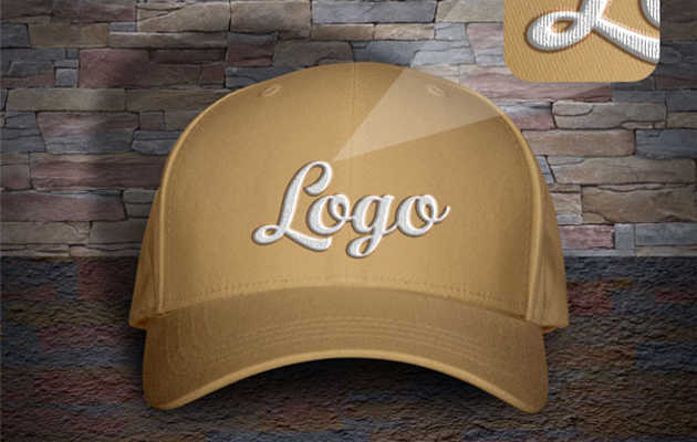 Free Men's P-Cap Mockup PSD with Woven Text Logo