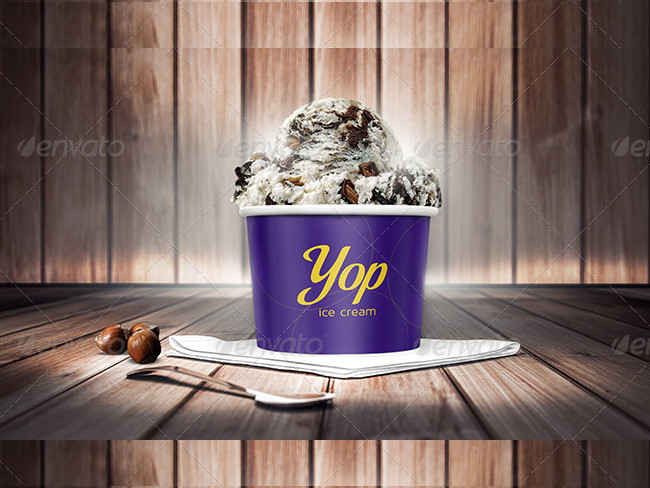 Fully Layered Photorealistic Ice Cream Cup Mock-Ups