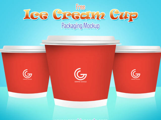 Ice Cream Cup Packaging Mockup Free PSD