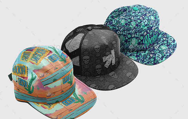 Photorealistic Cap Collection Mockup with Custom Colors