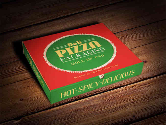 Fully Layered Pizza Box Packaging Mock-up PSD