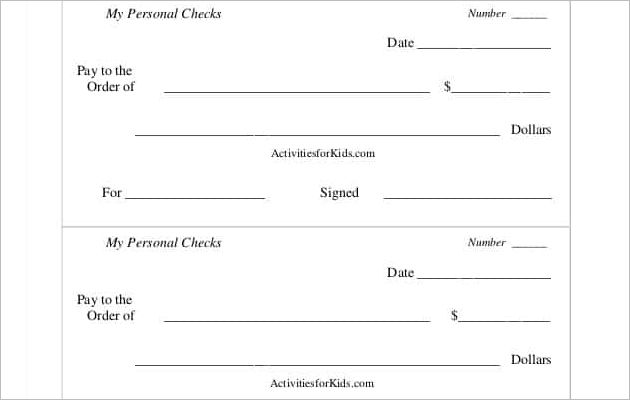 Printable Personel Play Checks Template PDF Format