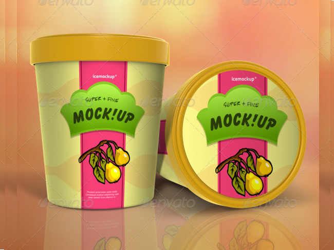 Realistic Ice Cream Packaging Mockup PSD