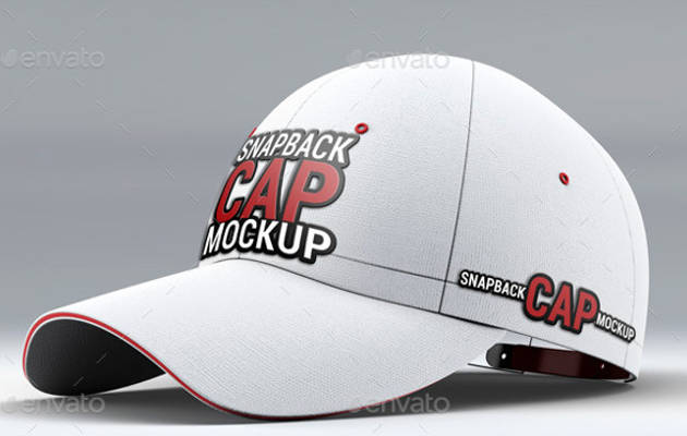 Snapback White Baseball Cap Mock-Up