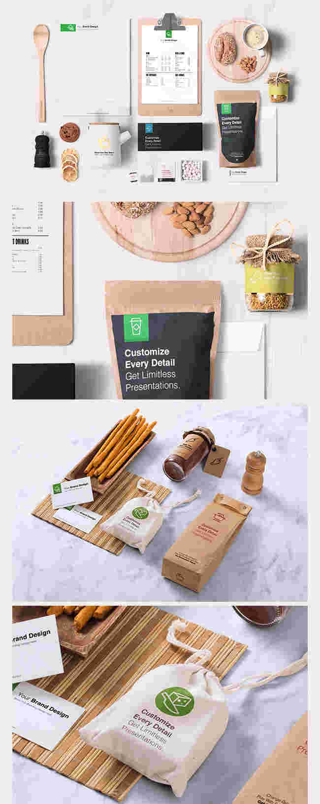Pre-made Fully Customizable Food Packages Mock-up