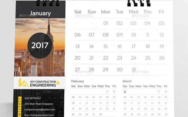 Construction Calendar Templates
