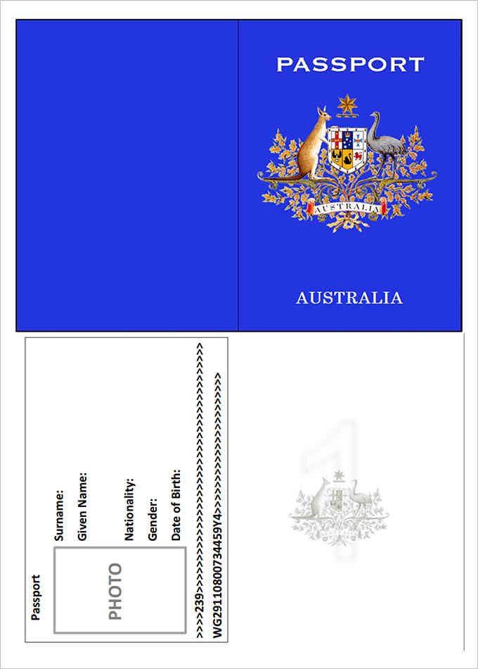 Australia Passport Template