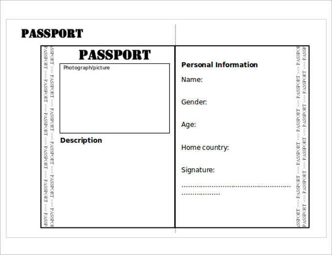image relating to Passport Printable known as Blank Pport Templates - Term, Excel, Pdf