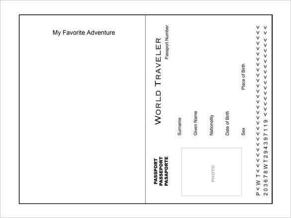 Favorite Adventure Passport Template PDF Printable Download