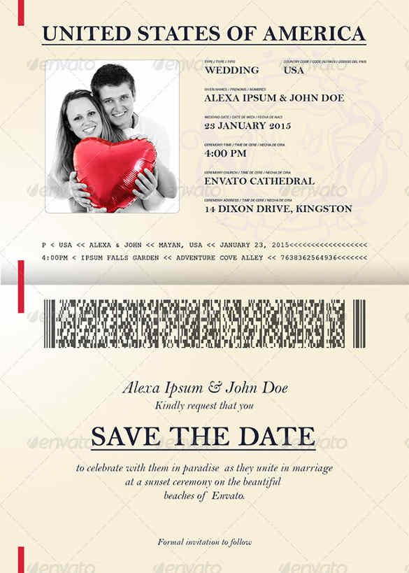 Passport Style Wedding Set Invitation Template PSD Download