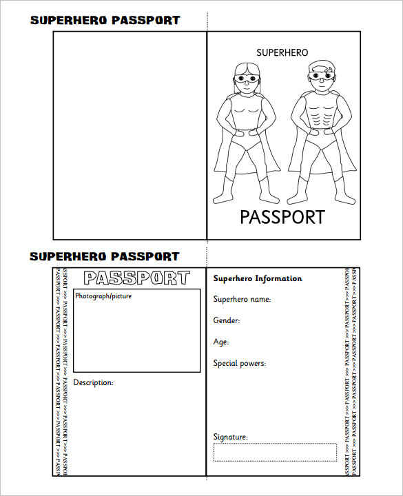 30 printable passport templates smart colorlib for Printable passport template for kids