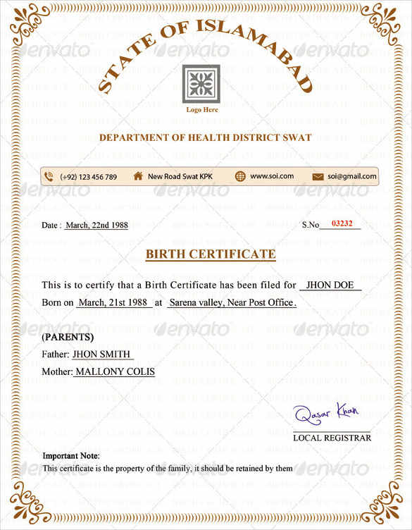 Birth Certificate Template PSD Format Download