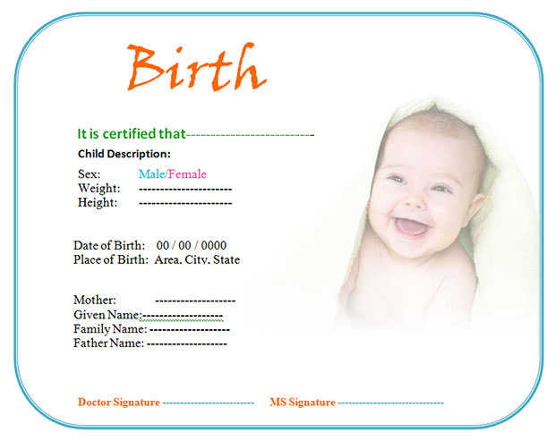 Birth Certificate Template for Cute Baby