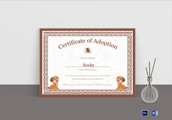 Pet Adoption Certificate Photoshop Template
