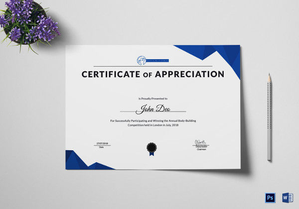 Physical Fitness Certificate of Appreciation