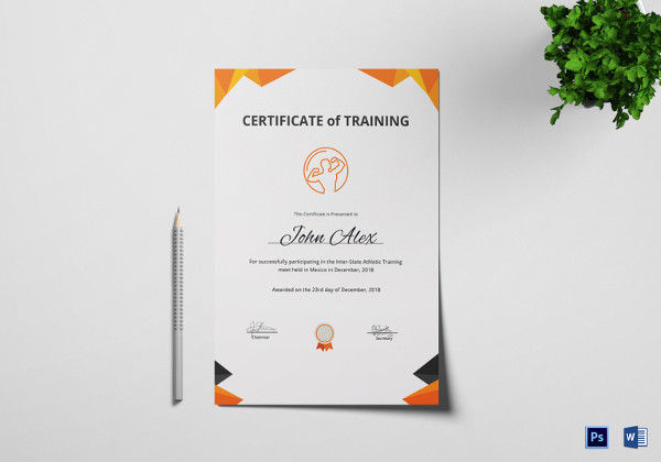 Physical Fitness Training Certificate Template