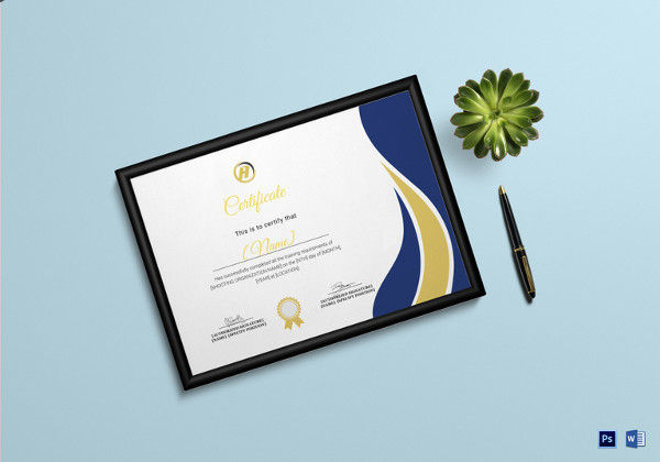 Shooting Training Completion Certificate Template