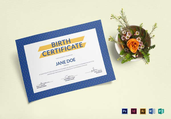 Simple Blue Birth Certificate Template