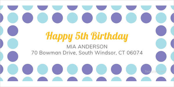 Birthday Address Label Template