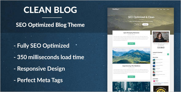Clean Blog SEO Optimized WordPress Theme