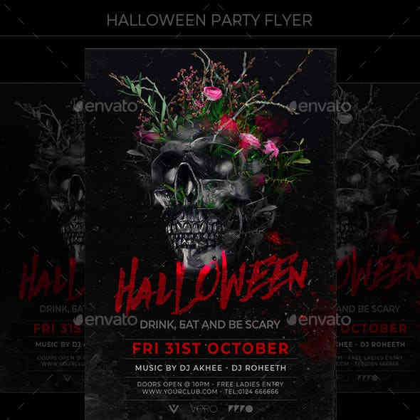 Easy Customisable Halloween Party Flyer
