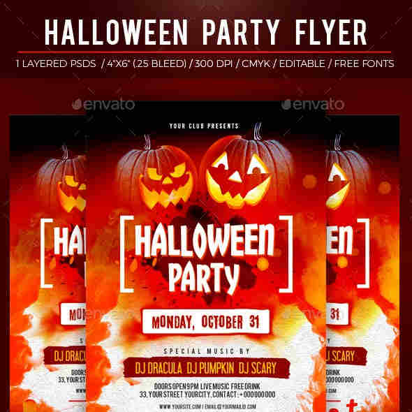 Layered Editable PSD file Halloween Party Template