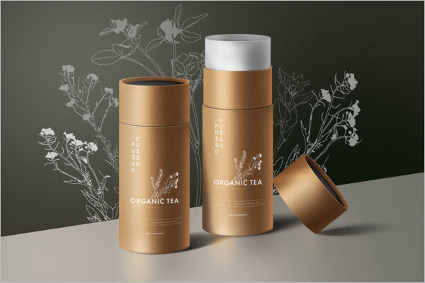 Sample Organic Tea Packaging Mockup Design