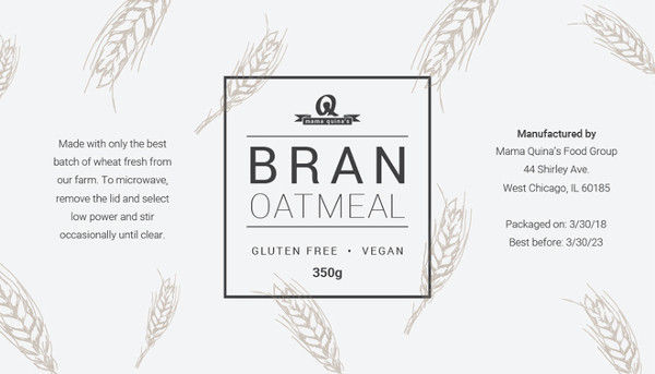 Simple Food Label Template
