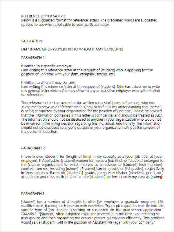 Basic Employment Reference Letter