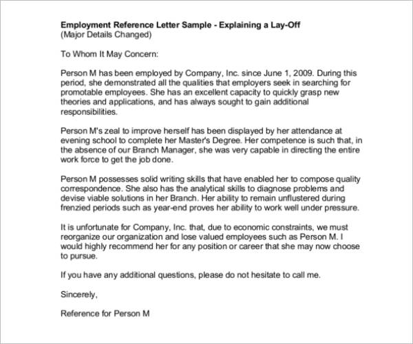 Employment Reference LetterEmployment Reference Letter
