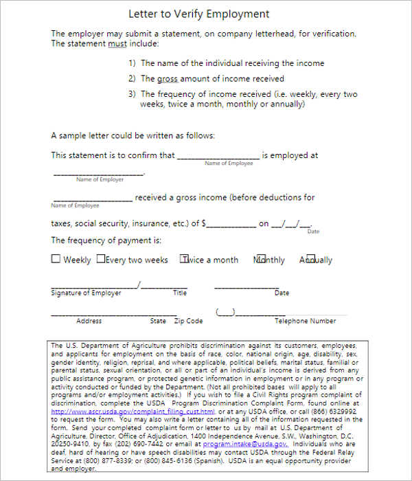 Free Letter Of Employment