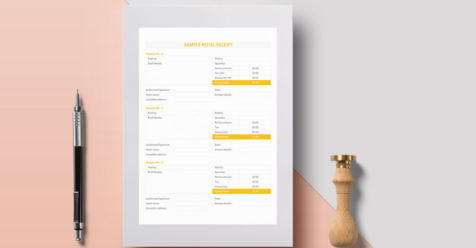 Printable Hotel Receipt Templates