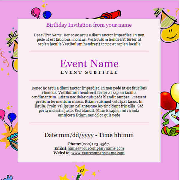 Birth Day Email Templates