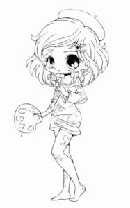 Chibi coloring page sample image