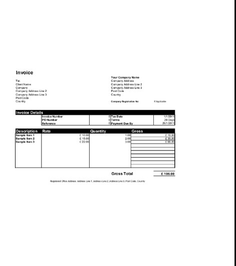 Download Invoice Template Excel