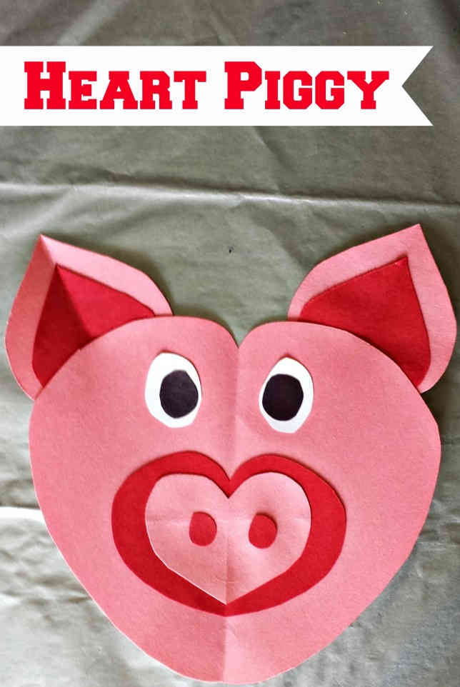 Heart Piggy Template Colorful Pattern