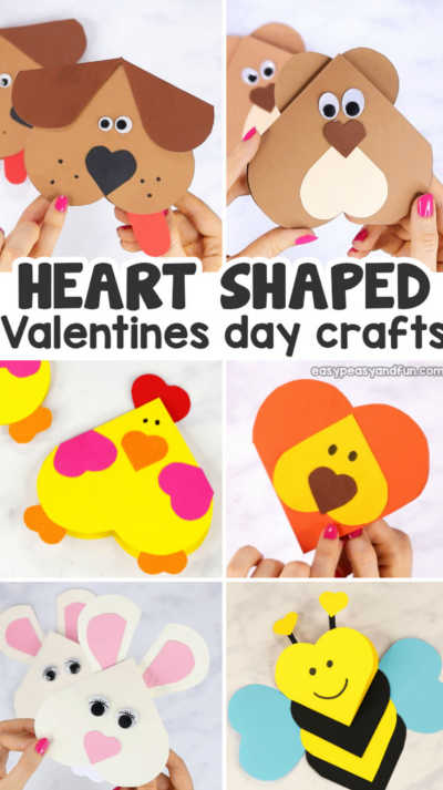 Heart Shaped Animals Crafts for Kids
