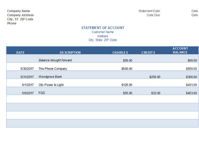 Invoice Statement of Account