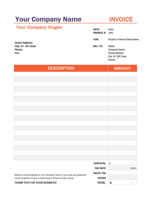 Invoice Template Format with Tax Pattern