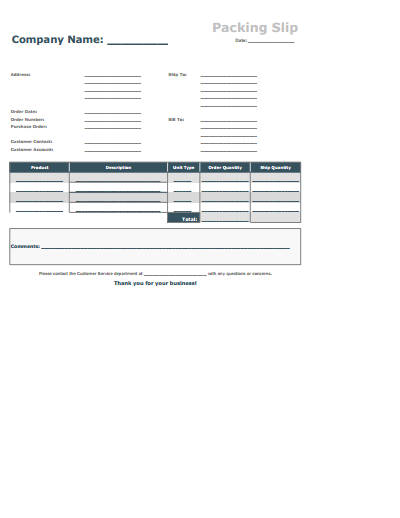 Packing Slip Invoice Template