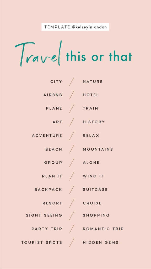 Travel Story Check List Template