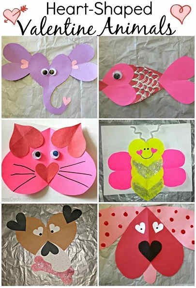 Valentine's Day Heart Shaped Animal Template
