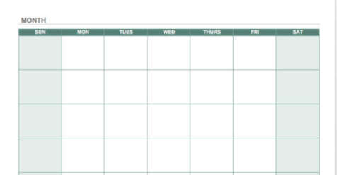 monthly calender template